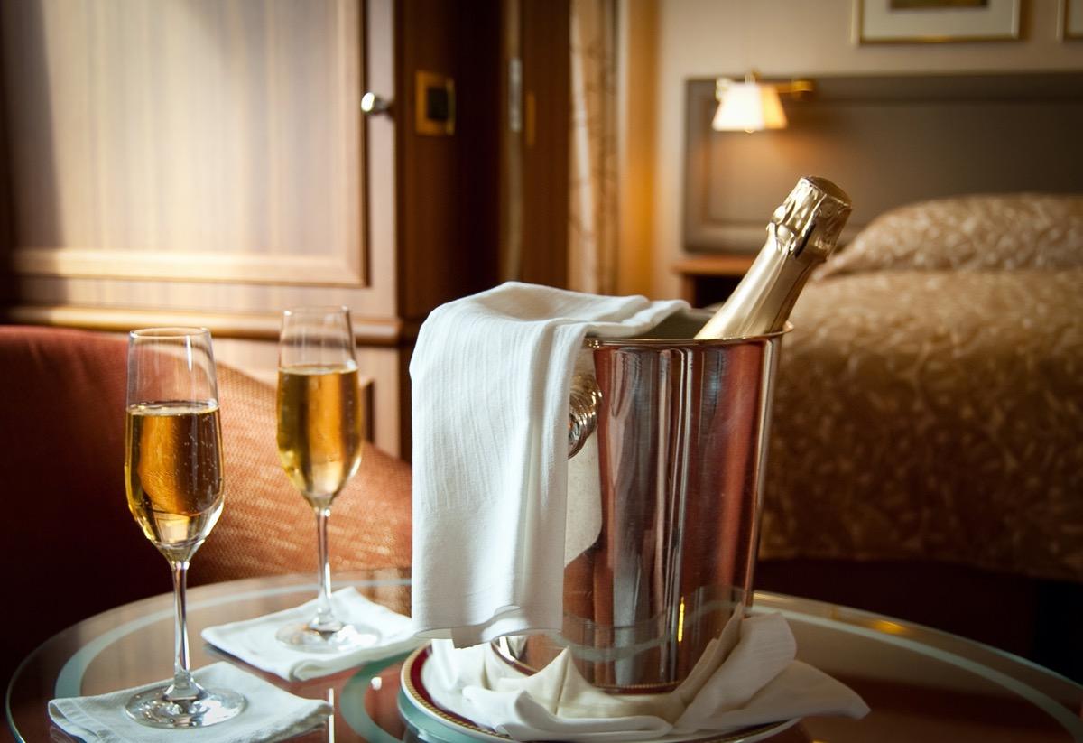 champagne bottle in hotel room