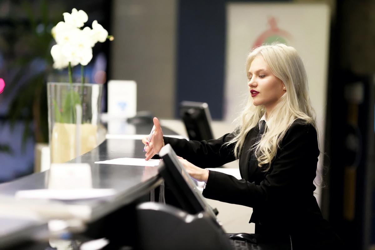 blonde concierge