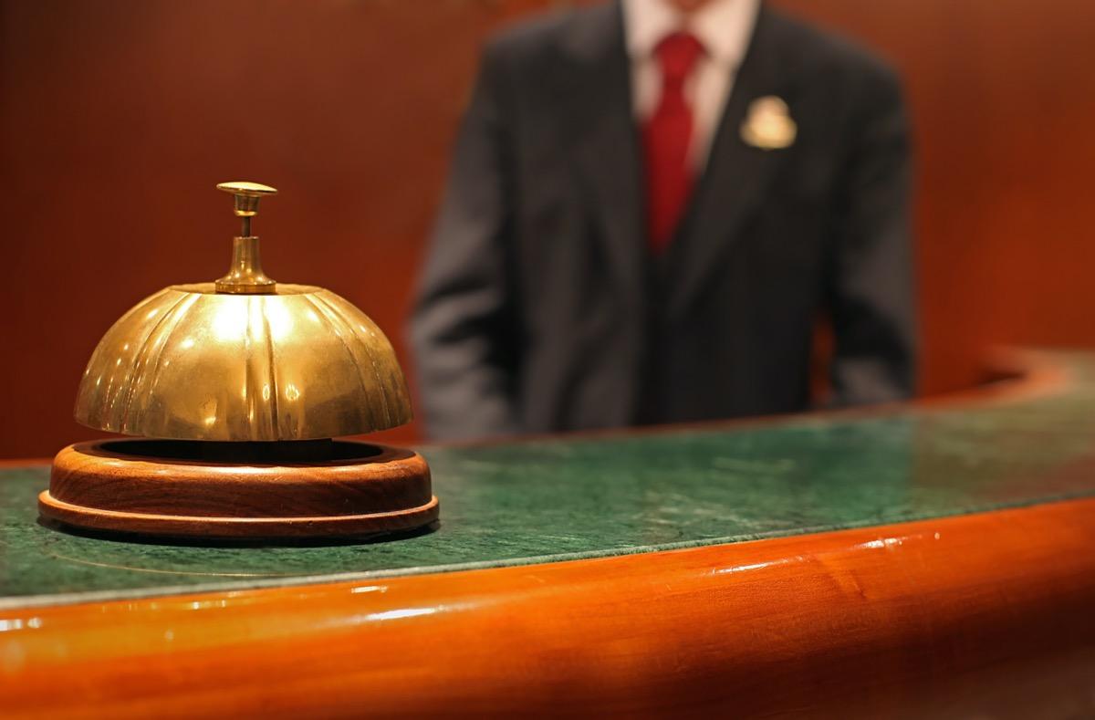 hotel bell on receptionist desk