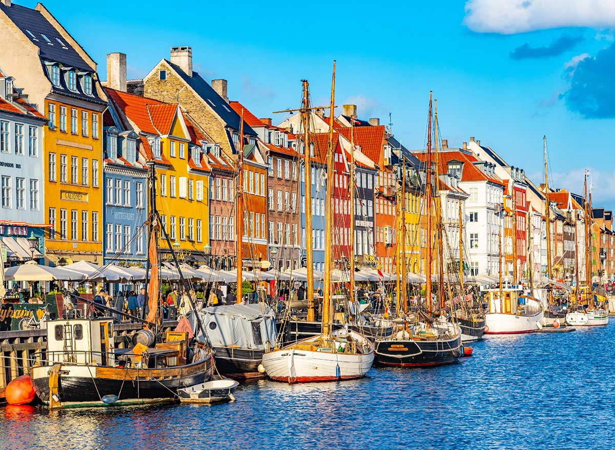 colorful buildings and boats in the harbor of Copenhagen