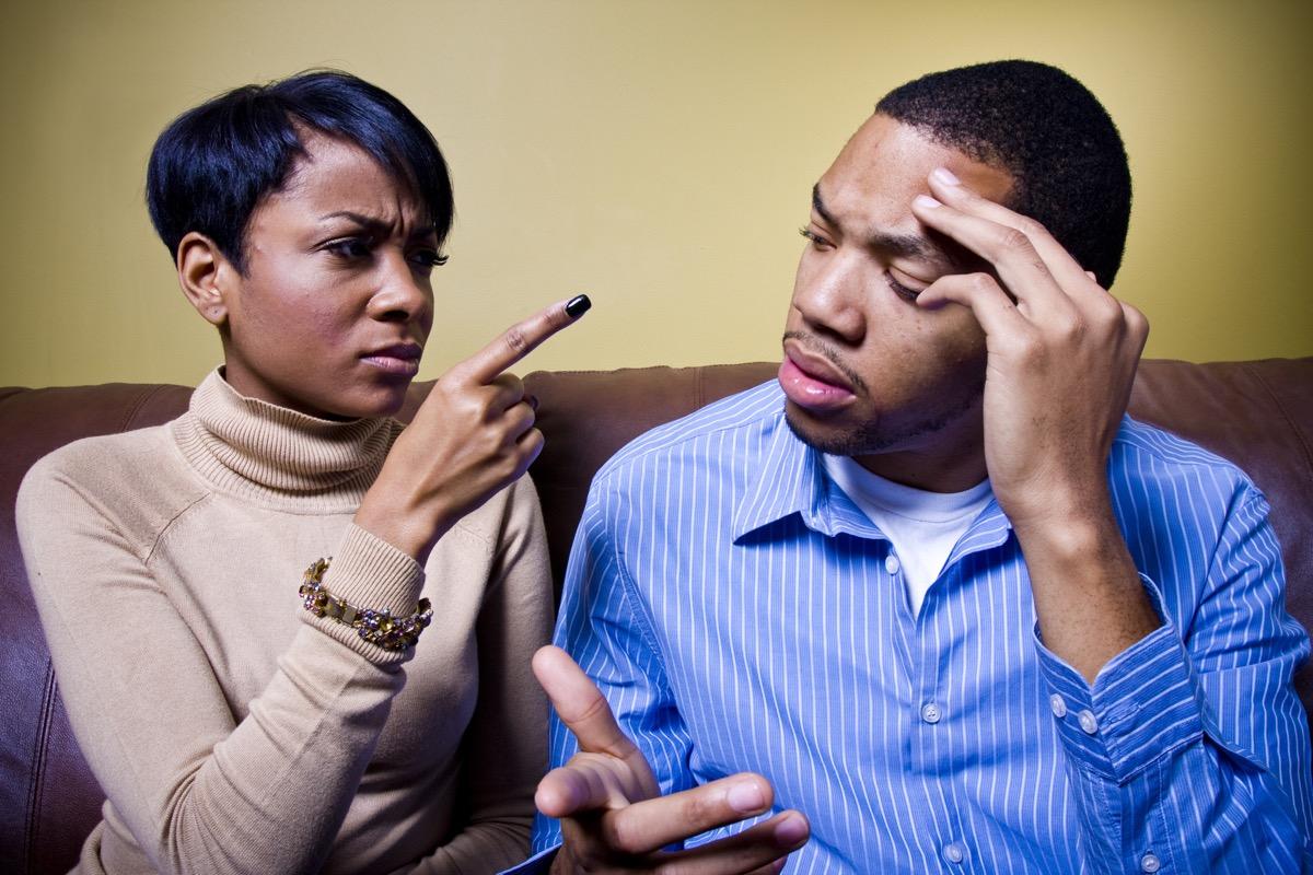 Black couple having an argument