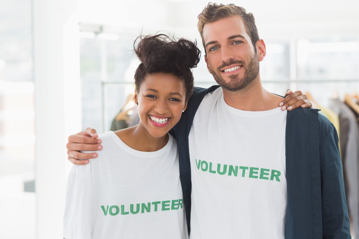 Couple volunteering