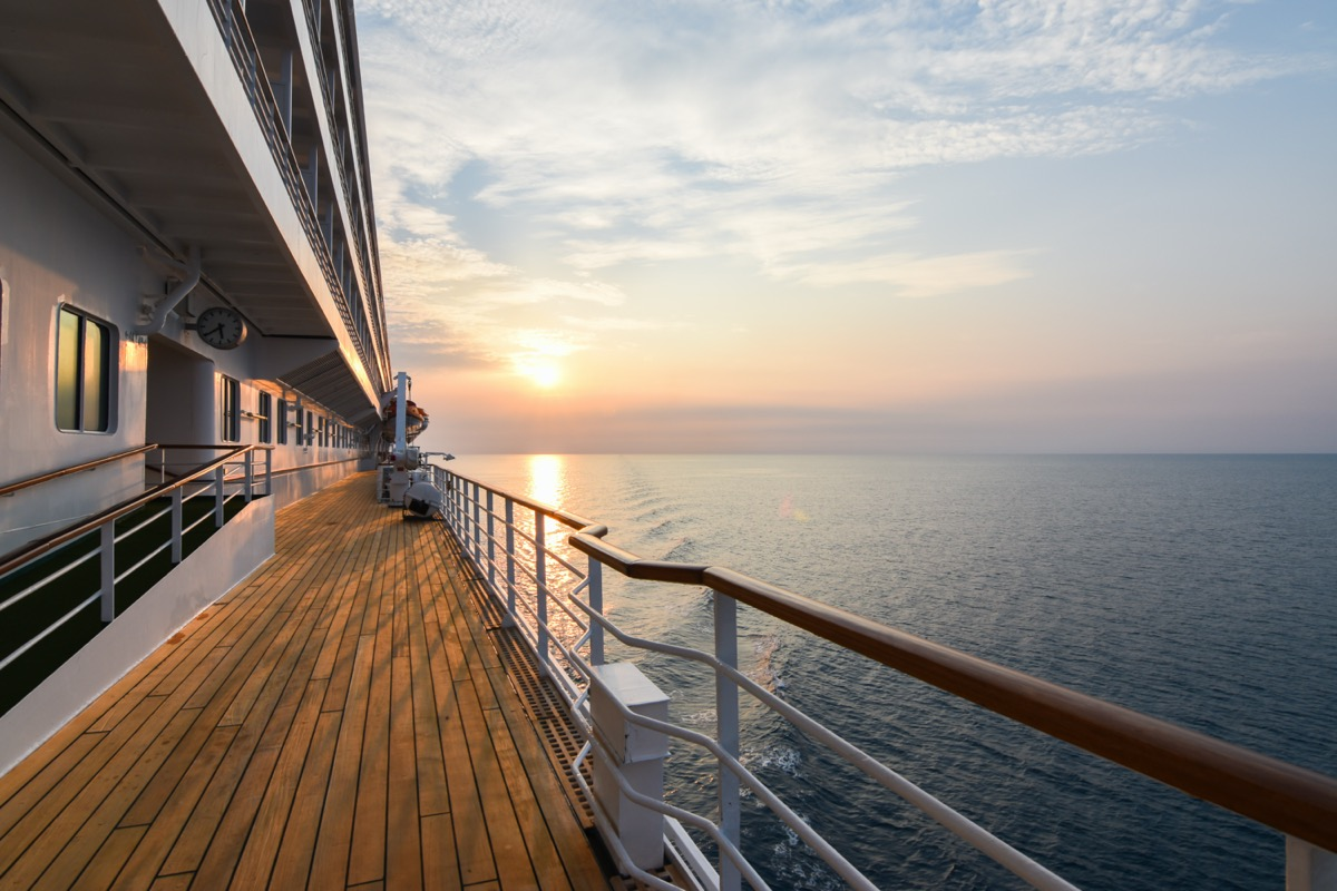 empty cruise deck during sunset