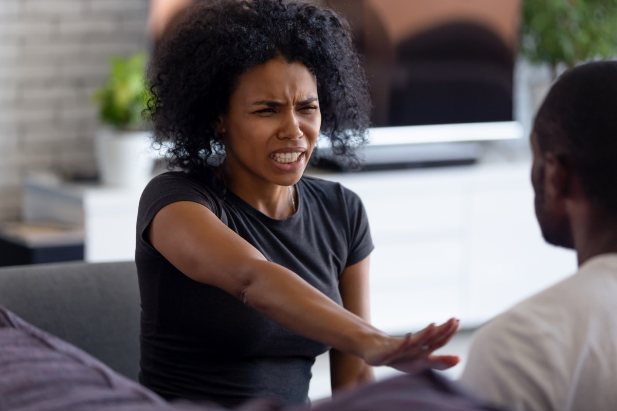 Woman getting defensive during conversation