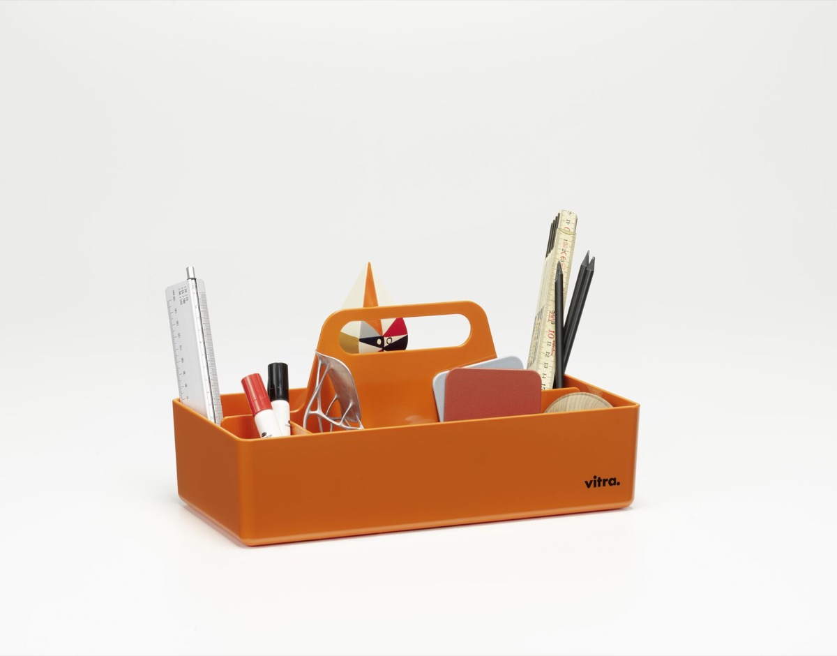 orange desk organizer