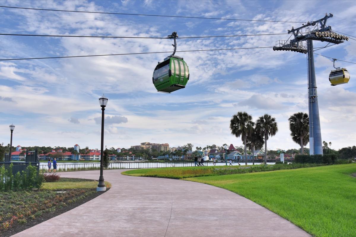 the disney skyliner from the ground at disney riviera resort