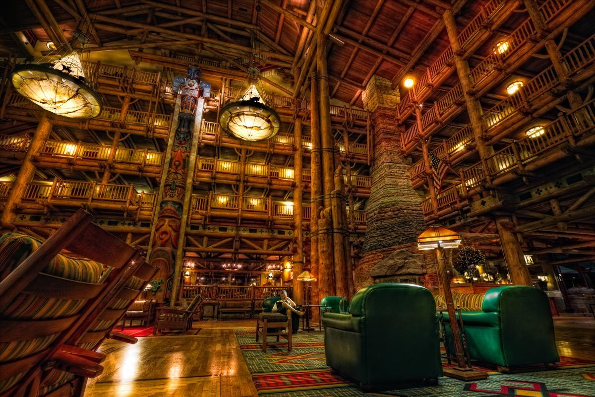 disney's wilderness lodge at night