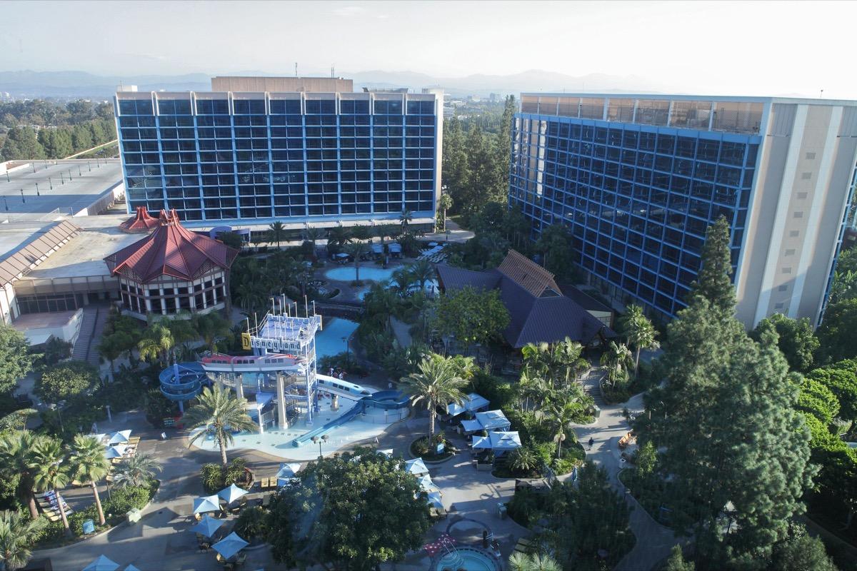 disneyland hotel anaheim aerial view