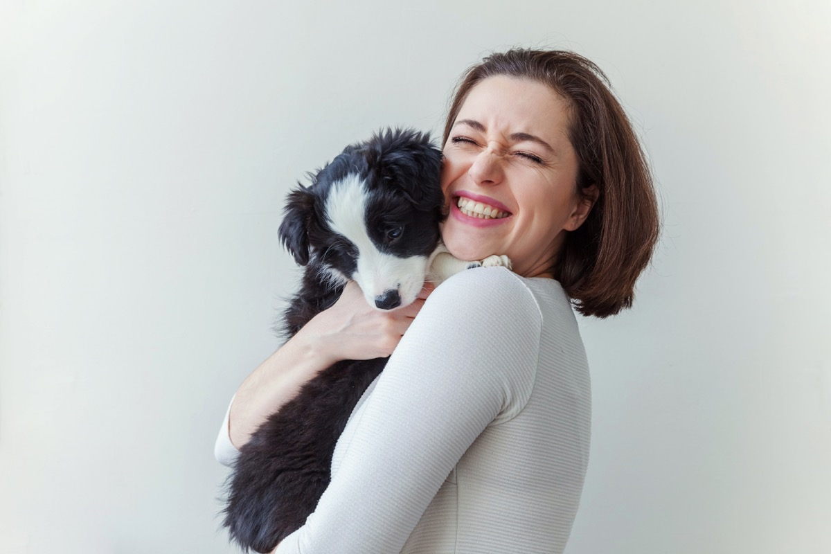 smiling young attractive woman embracing cute puppy dog border collie isolated on white background. Girl huging new lovely member of family. Pet care and animals concept