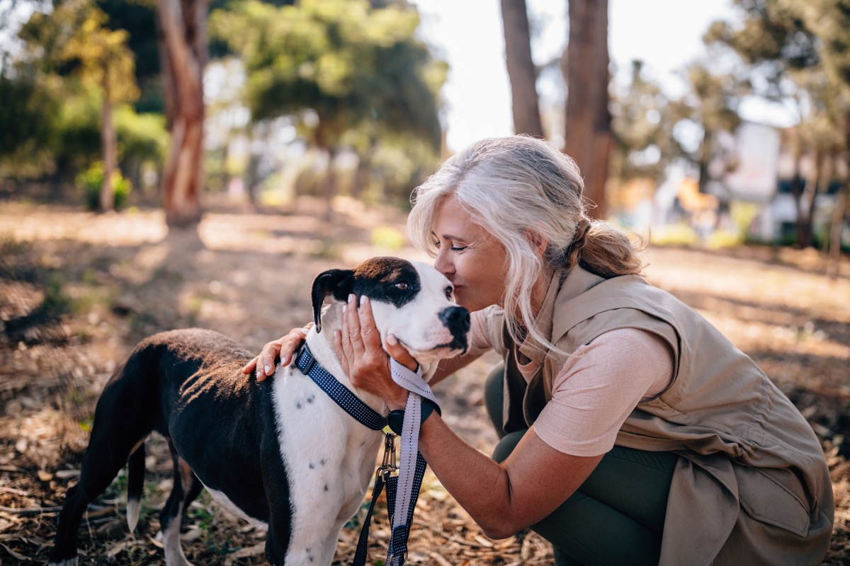 happy active mature woman enjoying afternoon walk in park and kissing pet dog on leash