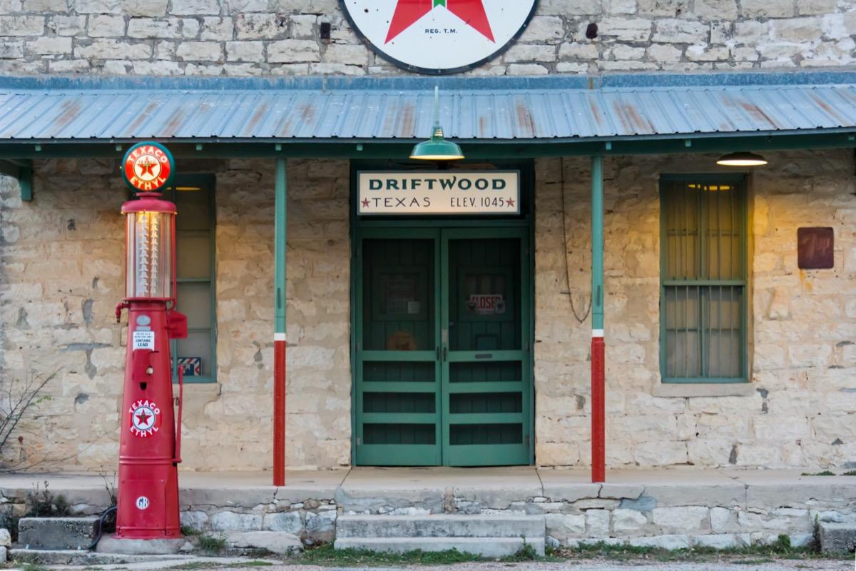 vintage gasoline station in driftwood texas