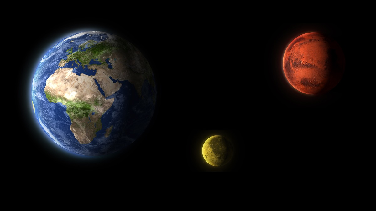 earth moon and mars