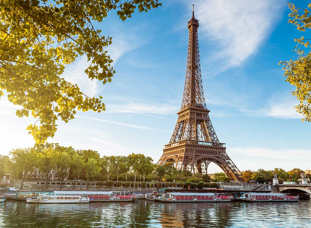 eiffel tower beside the river
