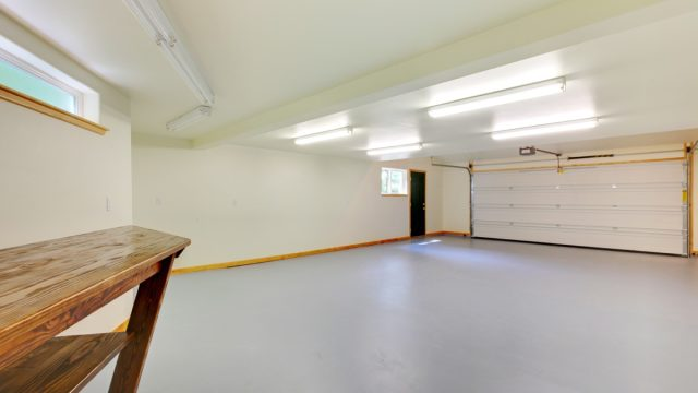 empty garage with wooden table