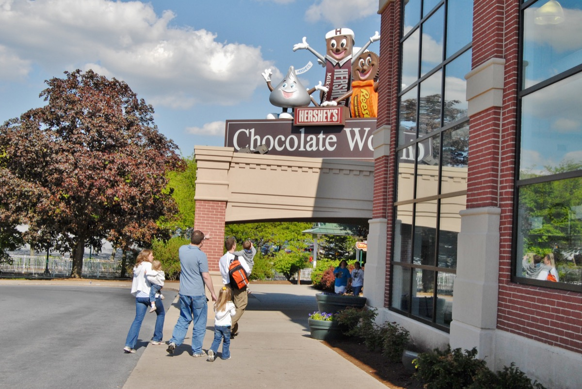 Family entering Hershey Park for a factory tour