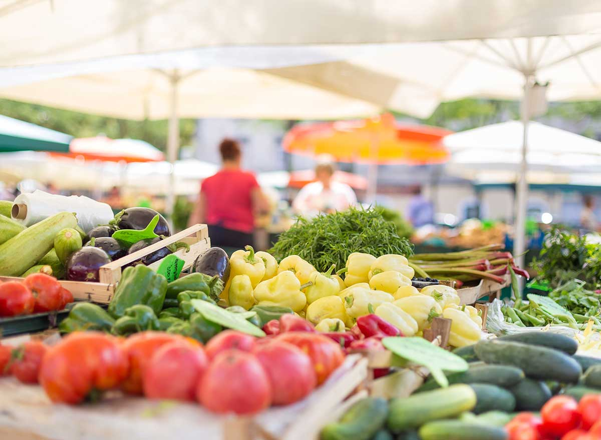 vegetables and produce at an outdoor farmers market