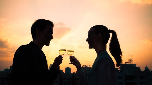 First date rooftop wine