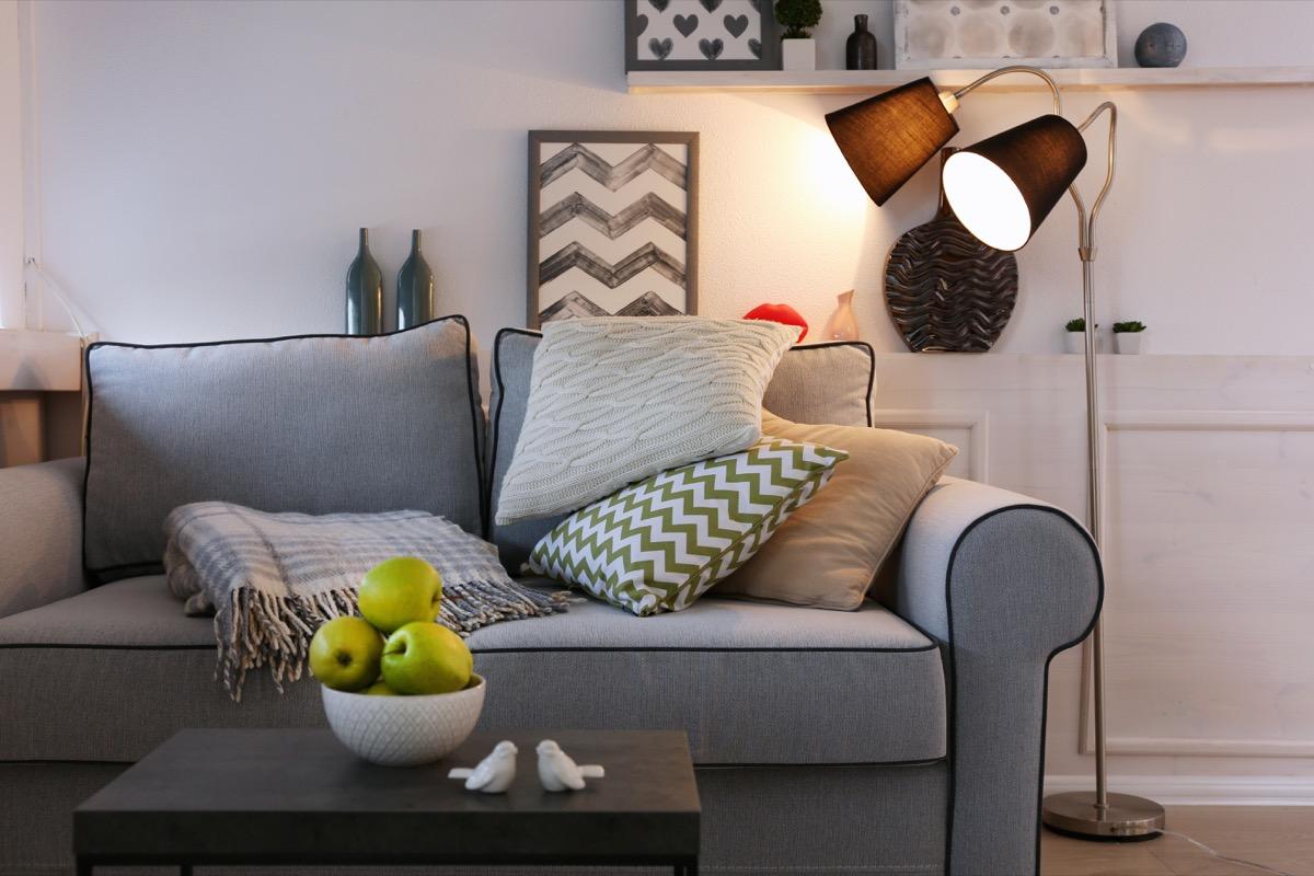 Floor lamp in a living room