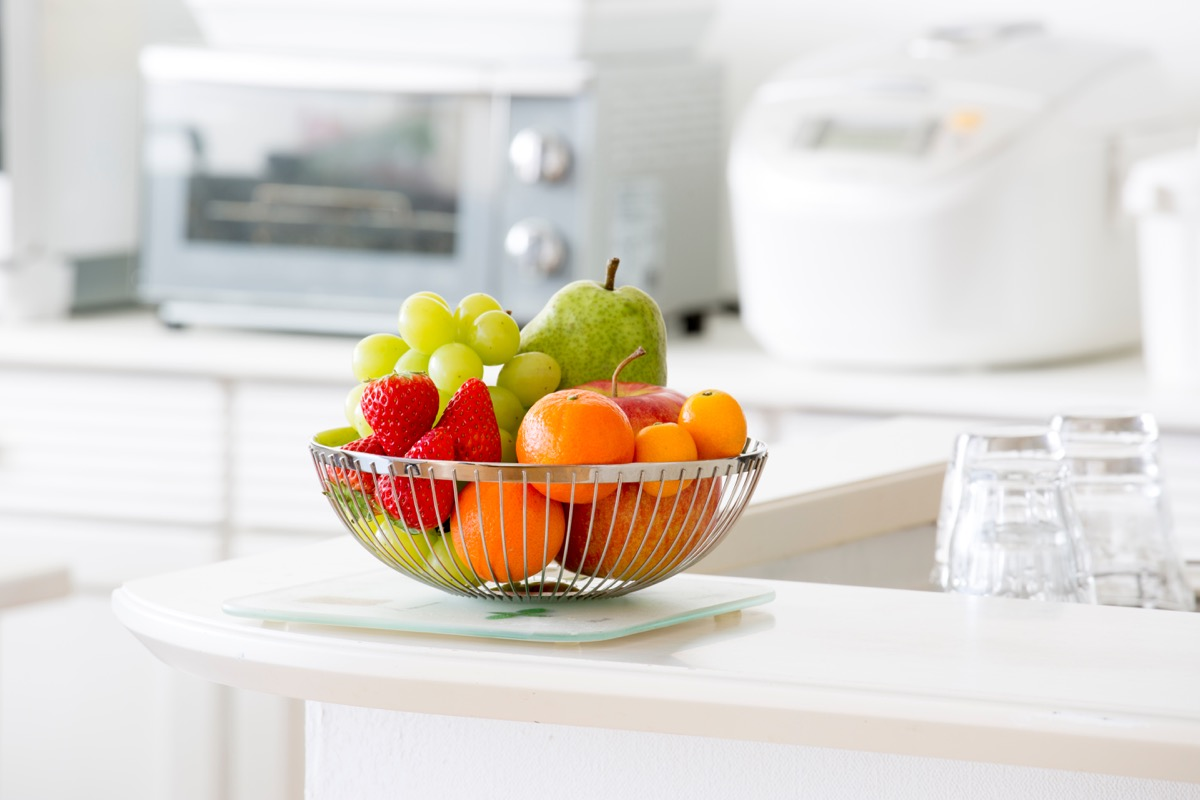 Bowl of fruit on a kitchen counter