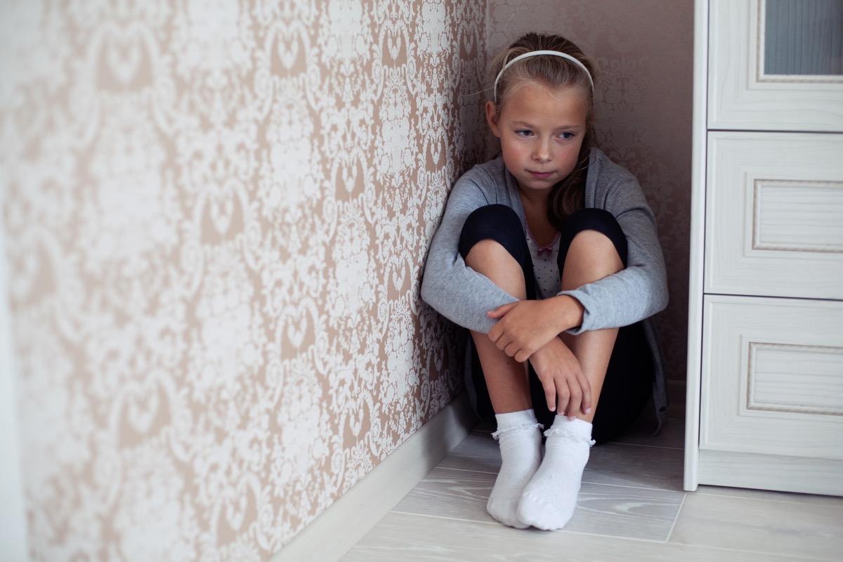Girl sitting in corner in timeout