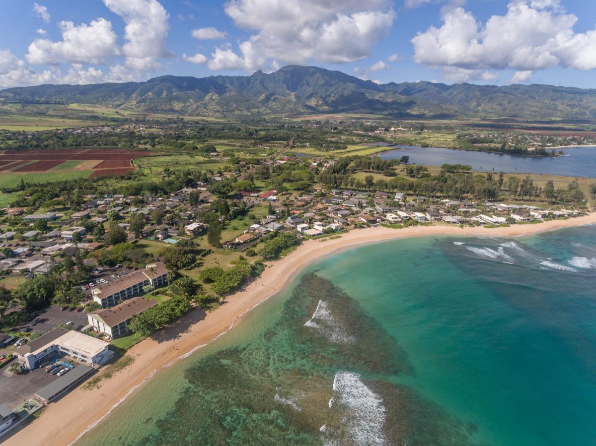 aerial view of haleiwa hawaii