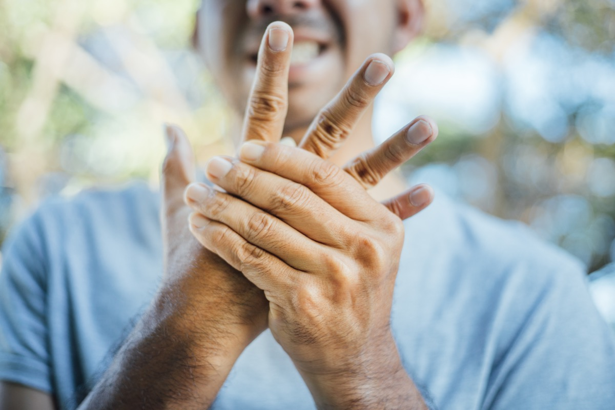 Man with hand numbness