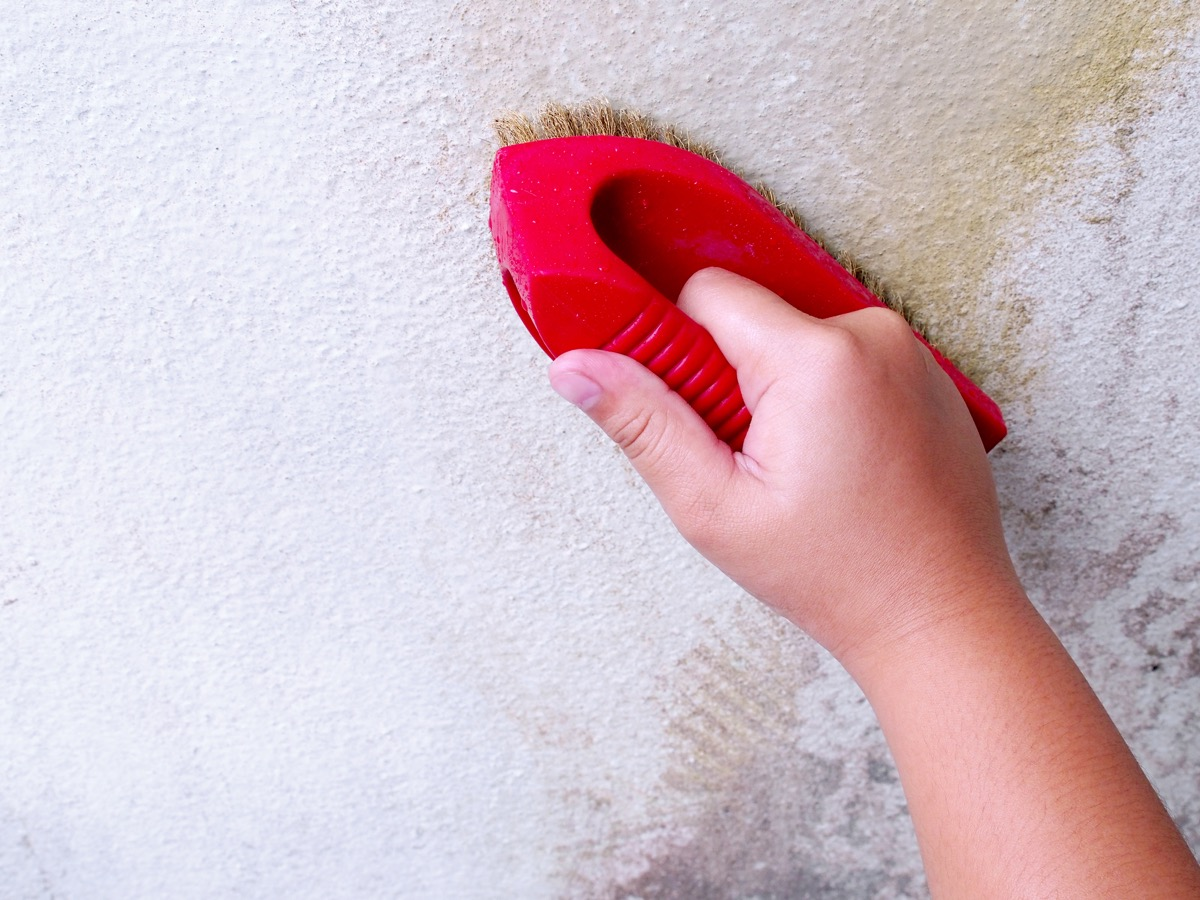 white hand scrubbing white wall with red brush