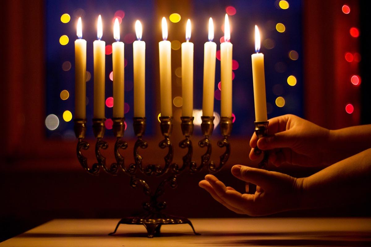 hanukkah candle lit