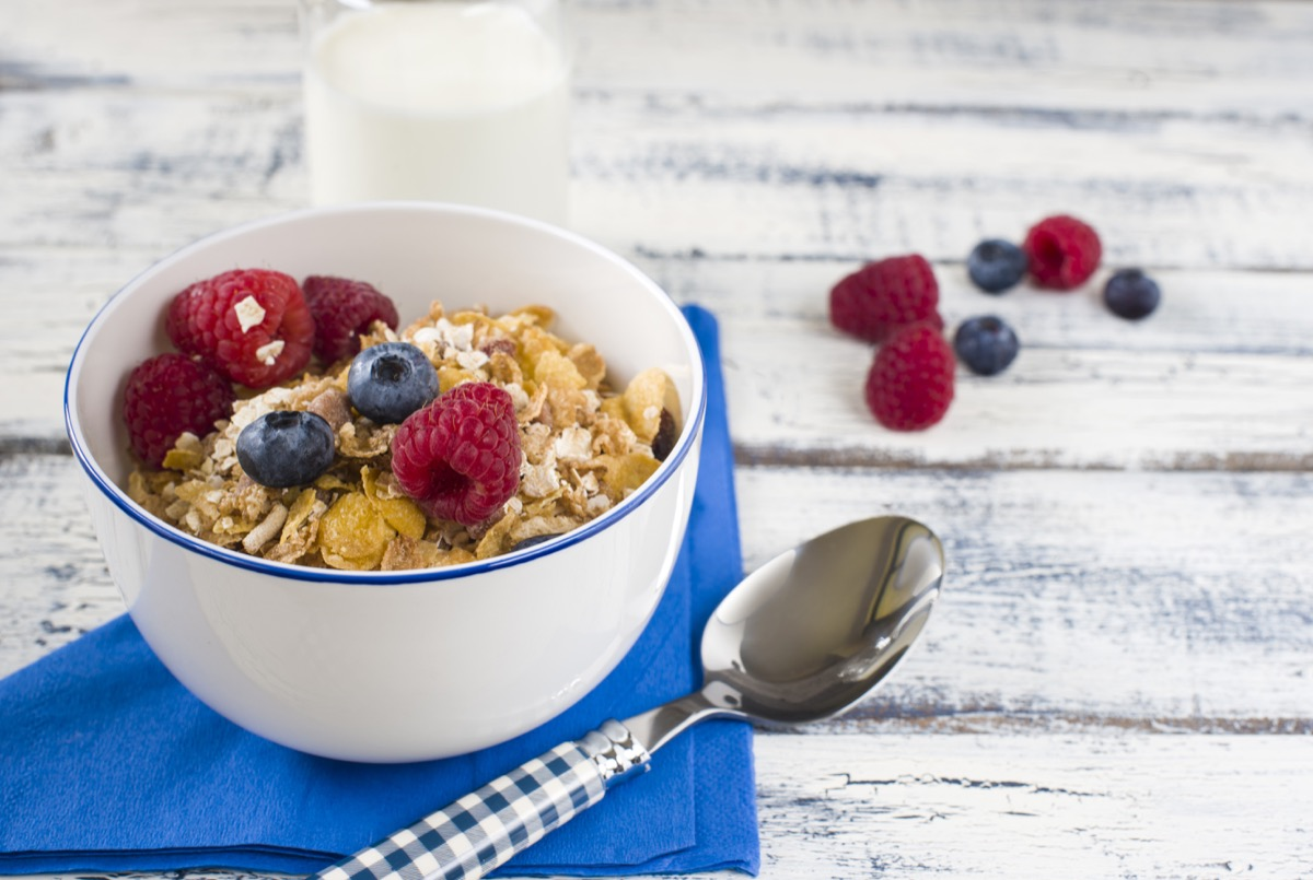 A healthy, high fiber oats and berries breakfast