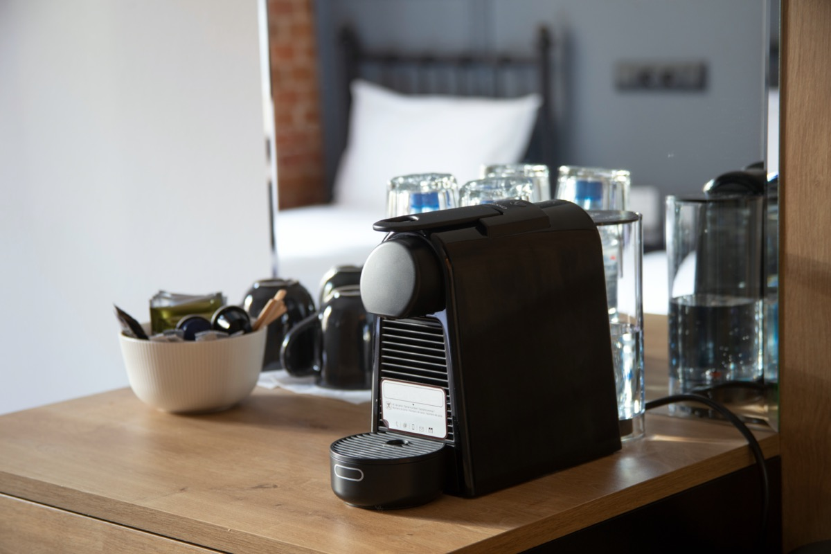 small coffee machine in a hotel room