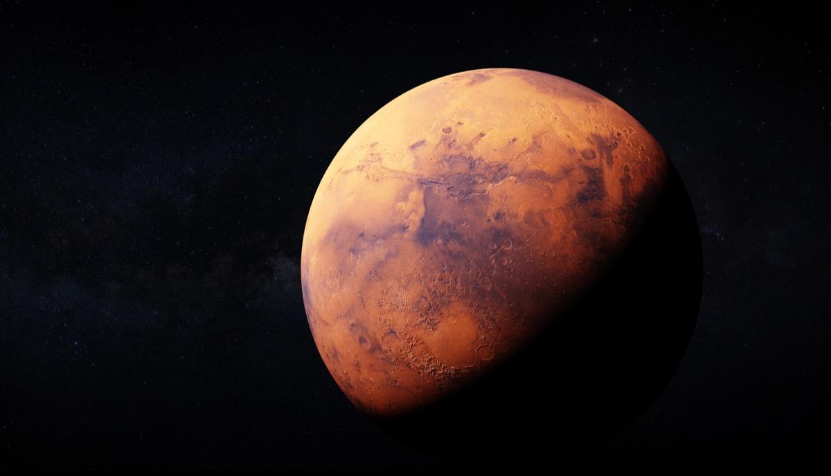 realistic 3D rendering of Mars