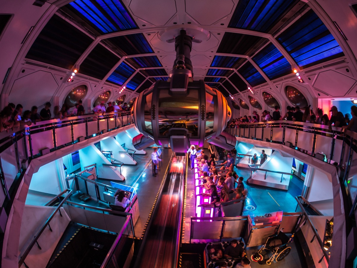 inside the space mountain ride in disneyland