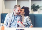 interracial couple kissing on Valentine's Day