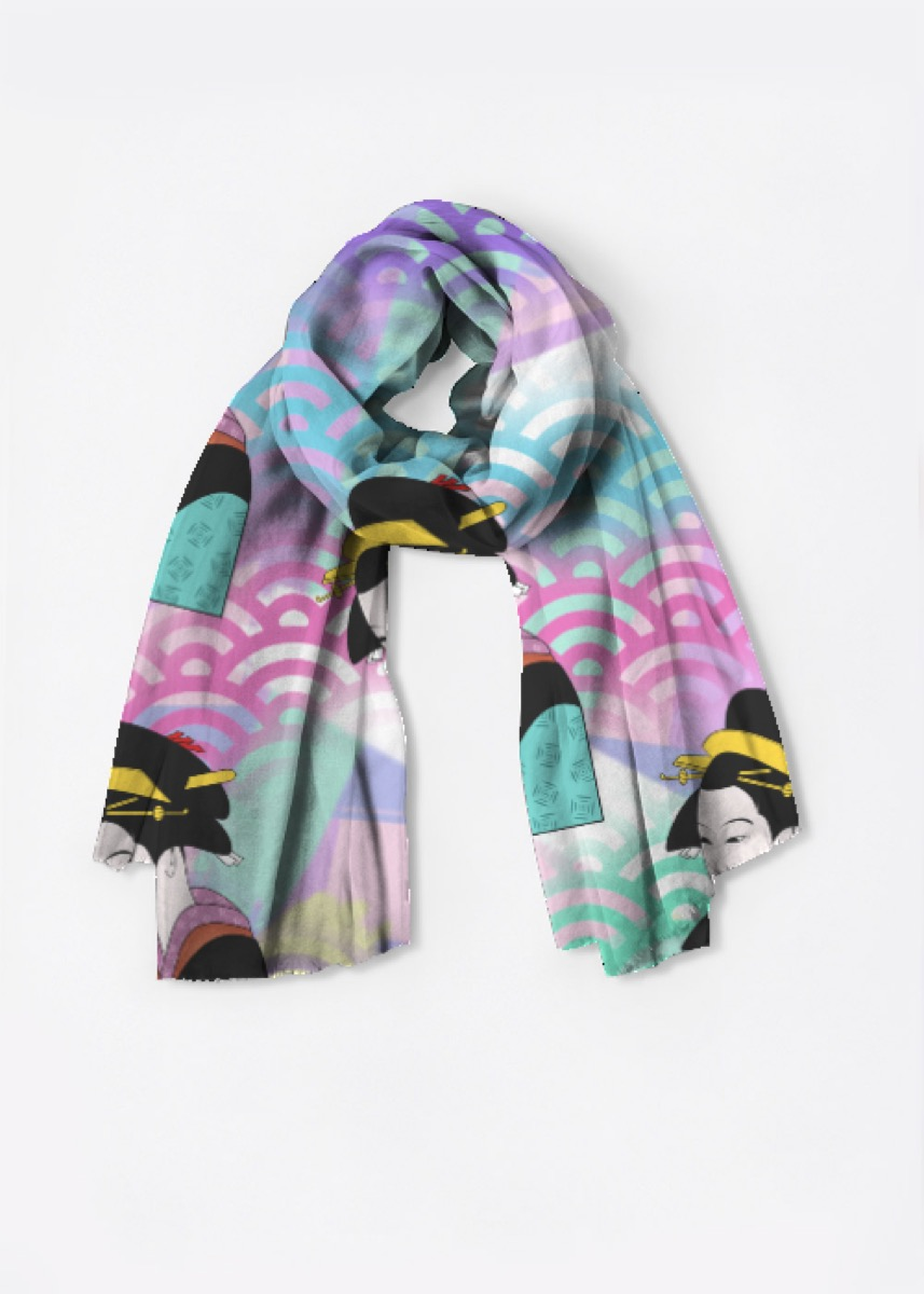Japanese art scarf with multiple colors and japanese figures on it