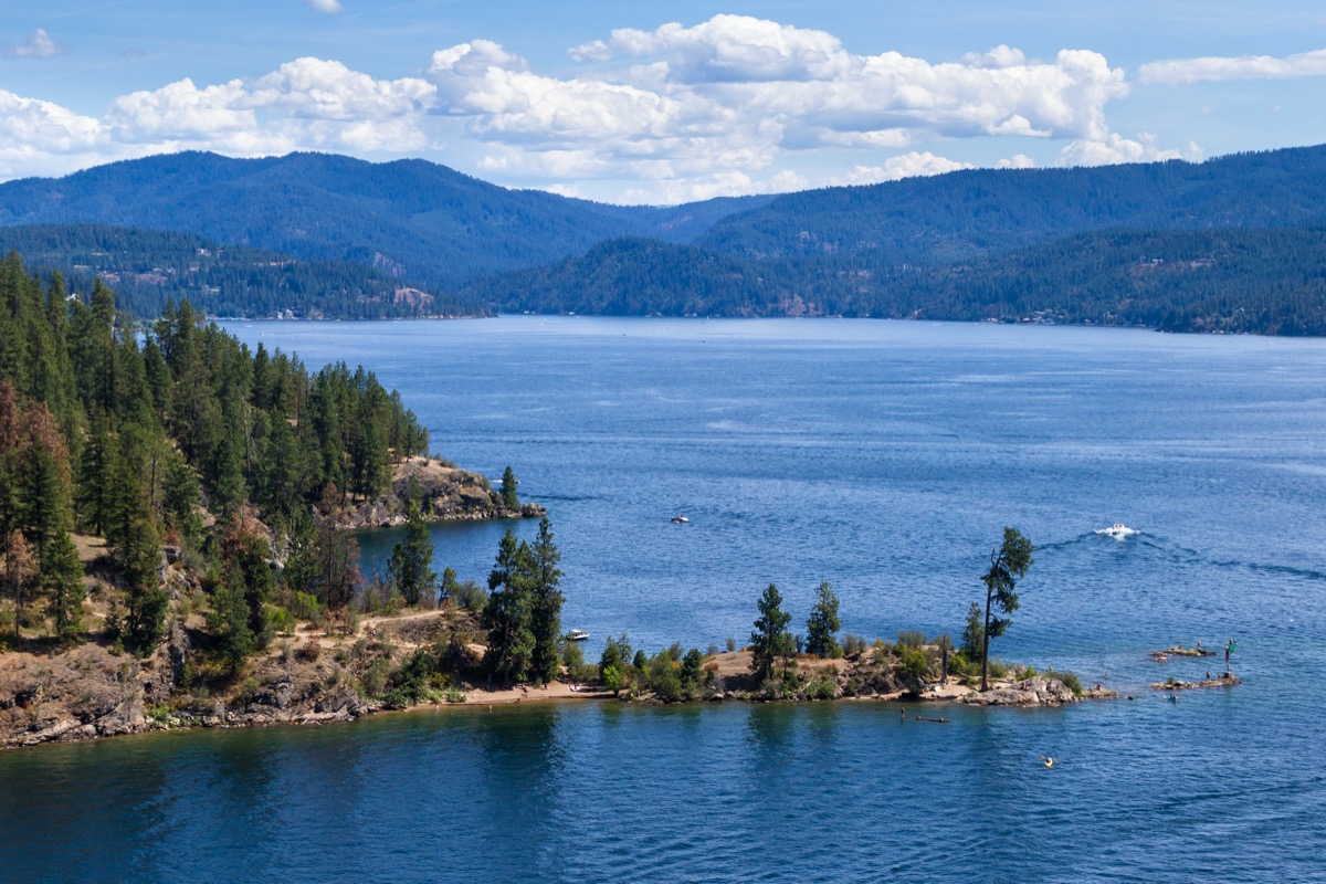 lake coeur d' alene viewed from parasail