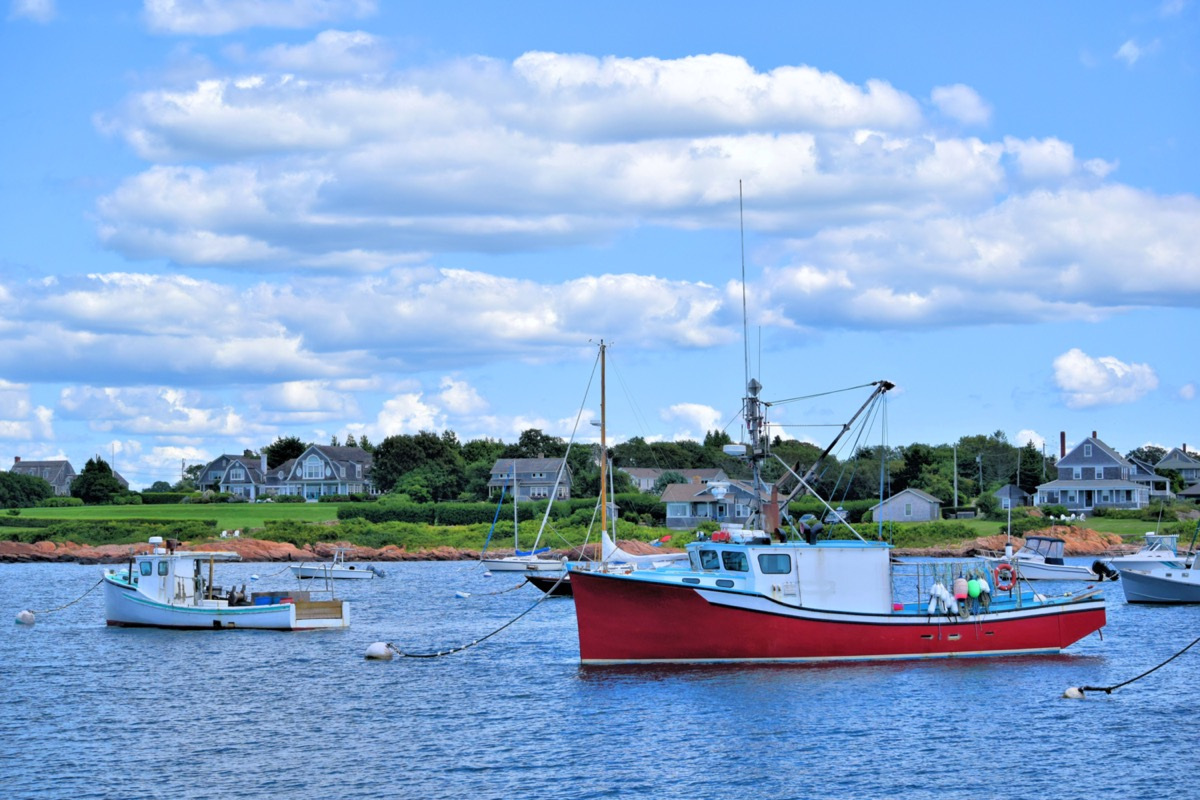 sailboats and houses in little compton rhode island