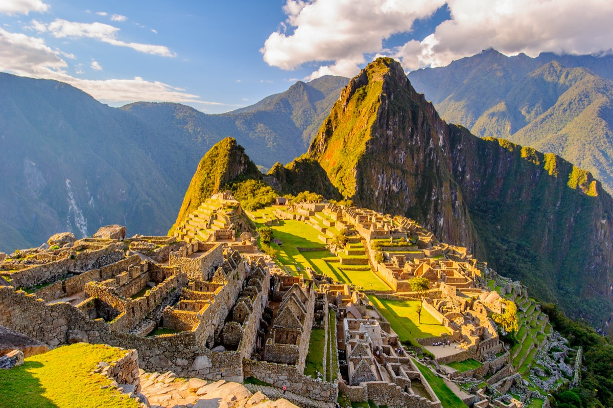 overview of the ancient ruins of machu picchu peru
