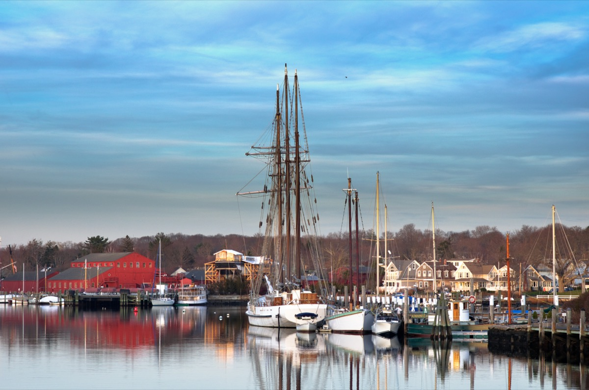 angled-view of mystic seaport in the afternoon