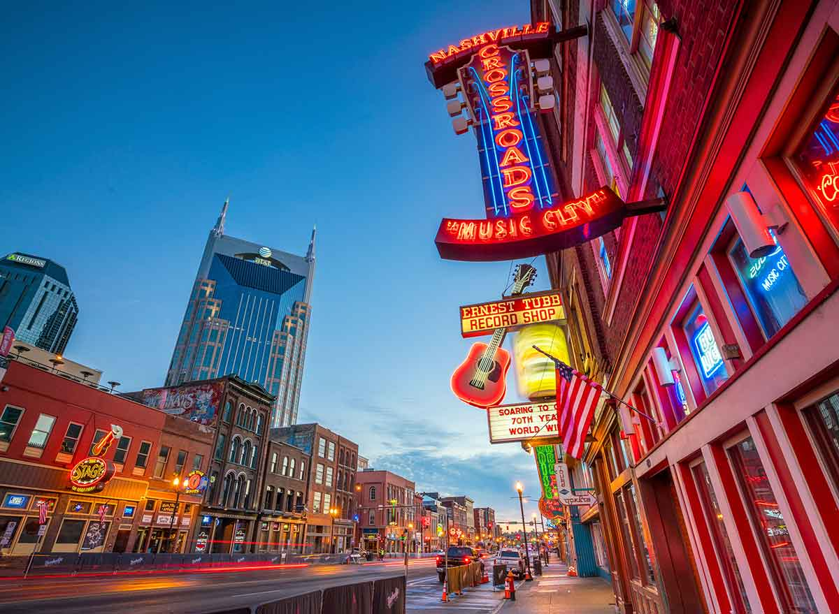 glowing signs and buildings in nashville