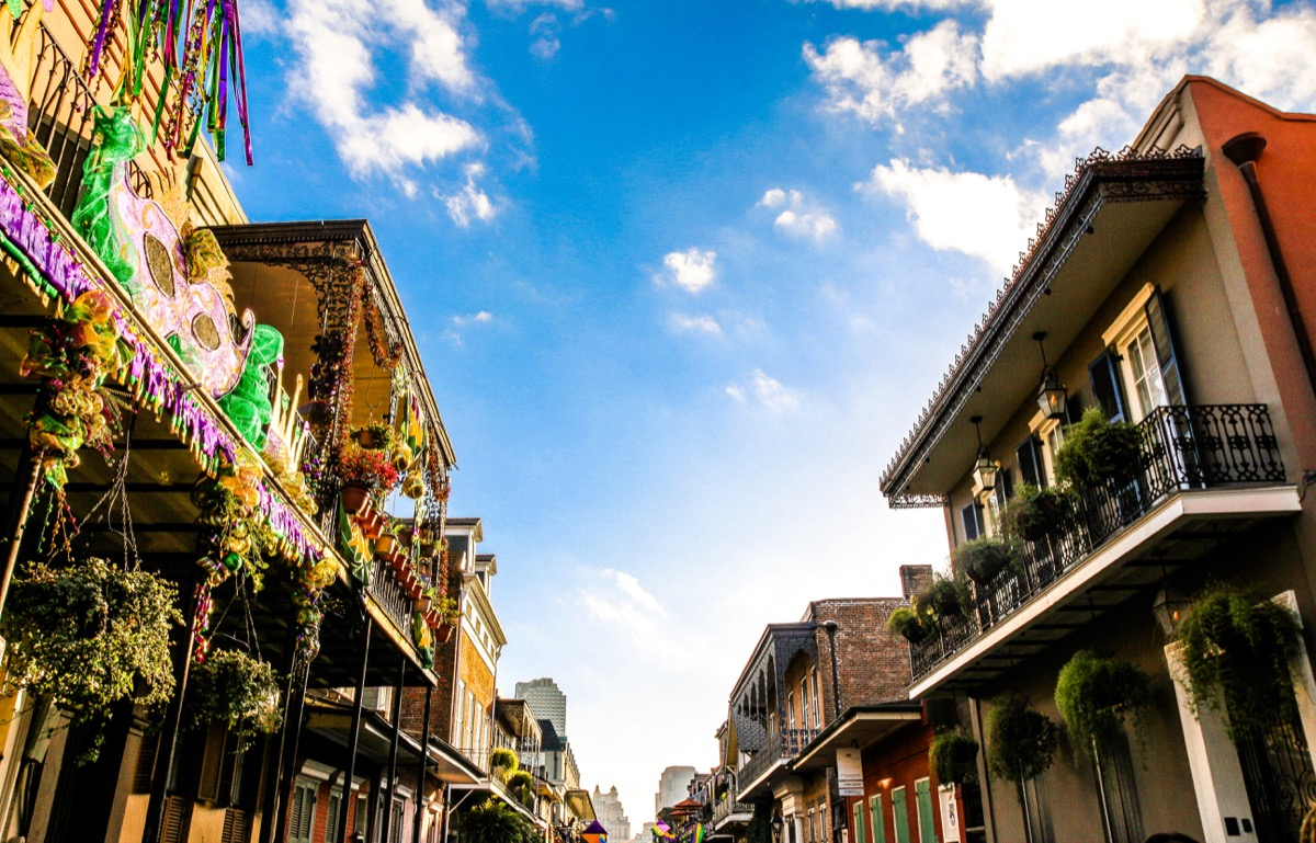 exterior architecture in New Orleans, southern and festive