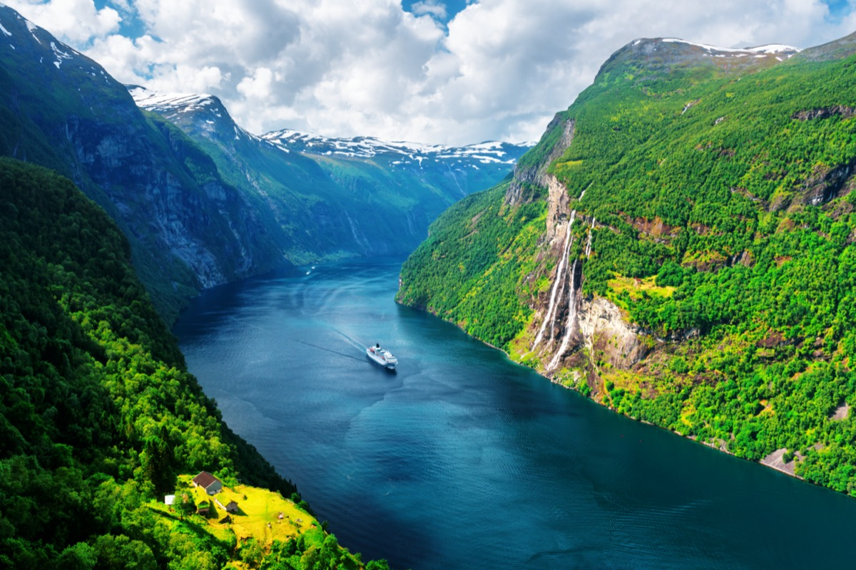 norway fjord cruise between mountains on a river