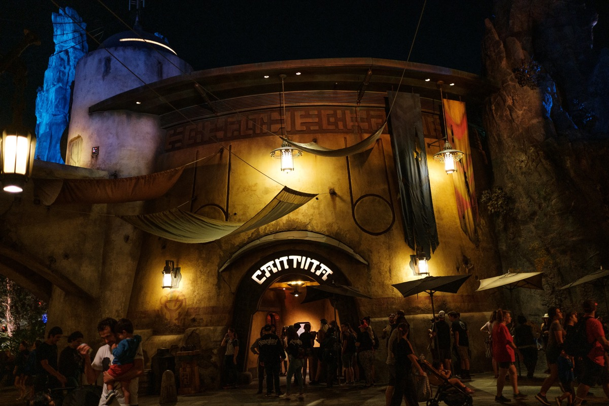 the entrance to oga's cantina in disney