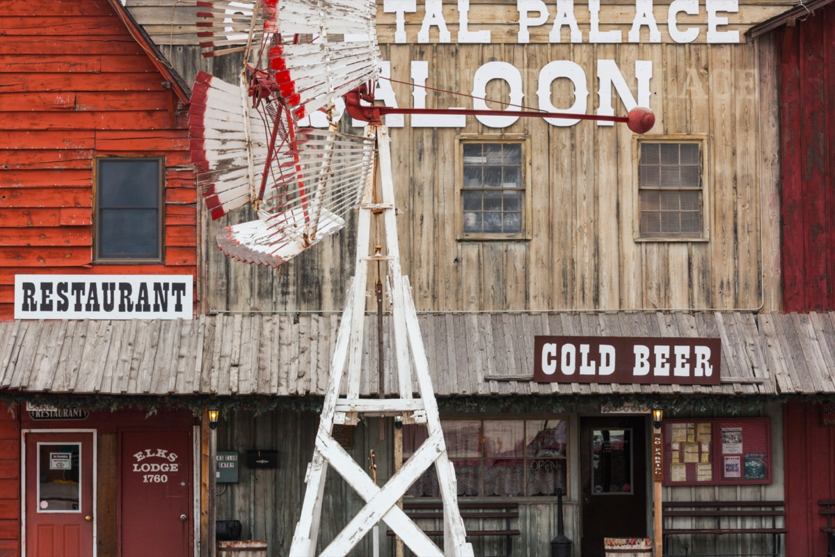 wooden saloon storefronts