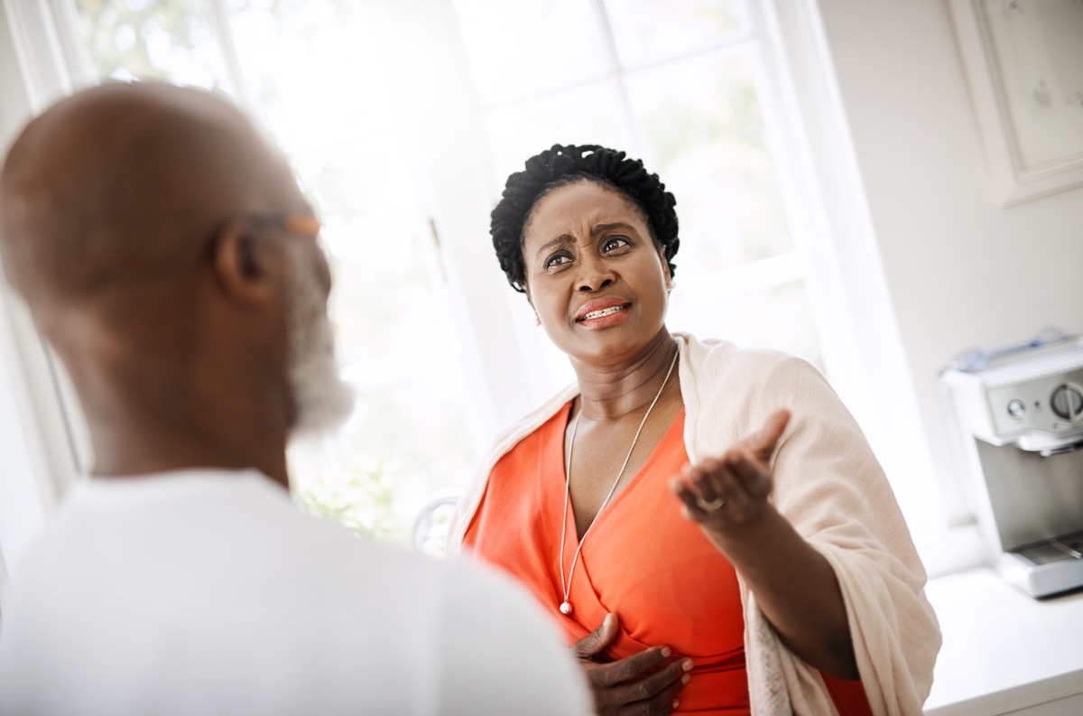 shot of a mature couple having a serious conversation at home