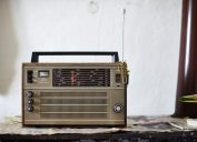retro style radio on an old table