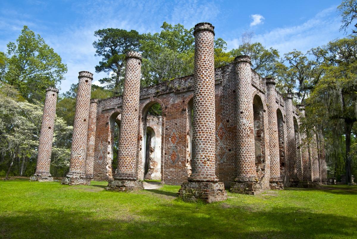 ruins of sheldon church built in 1745 south carolina