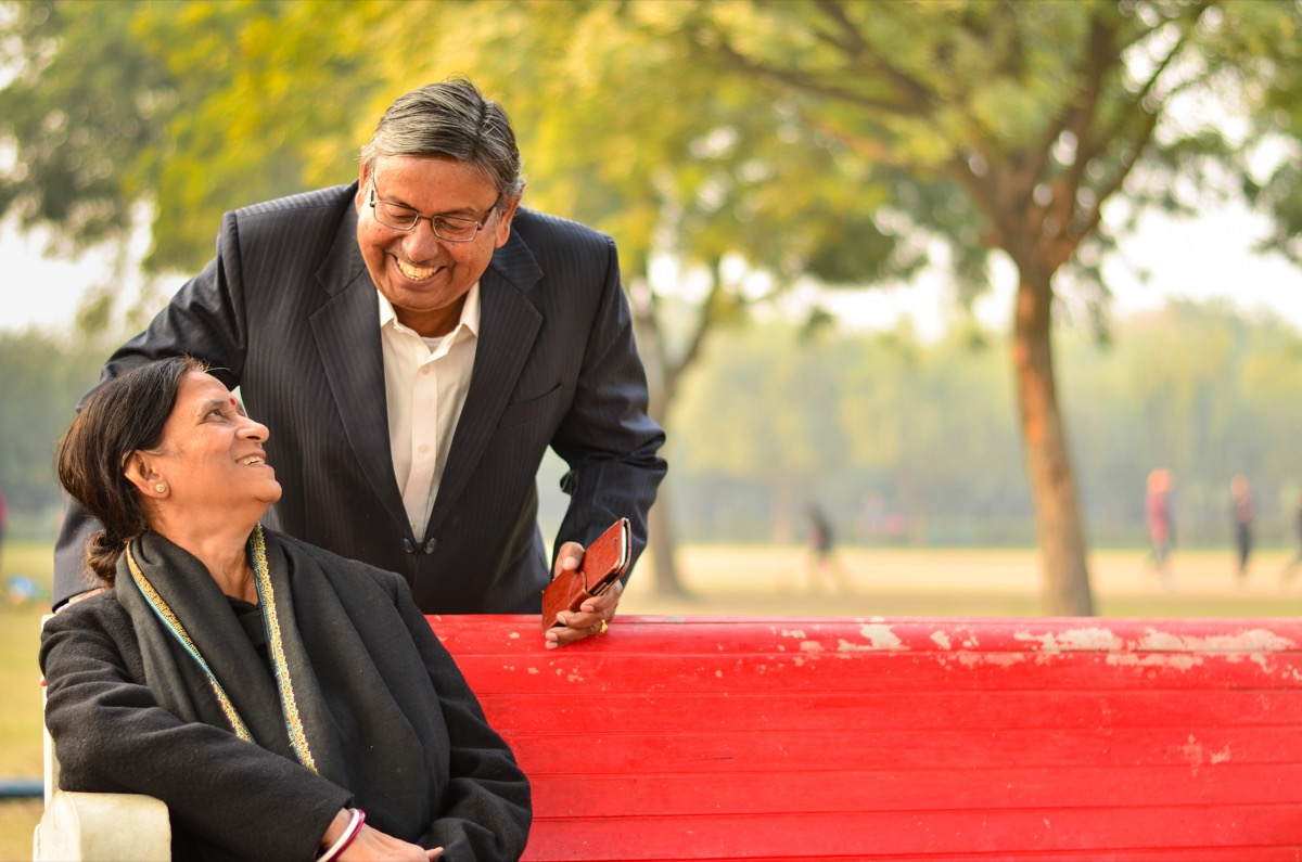 Older Indian couple laughing