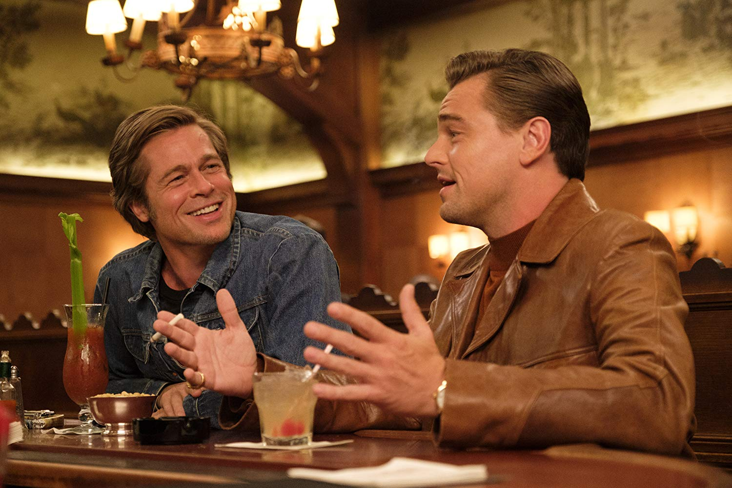 Still of Brad Pitt and Leonardo DiCaprio in Once Upon a Time in Hollywood