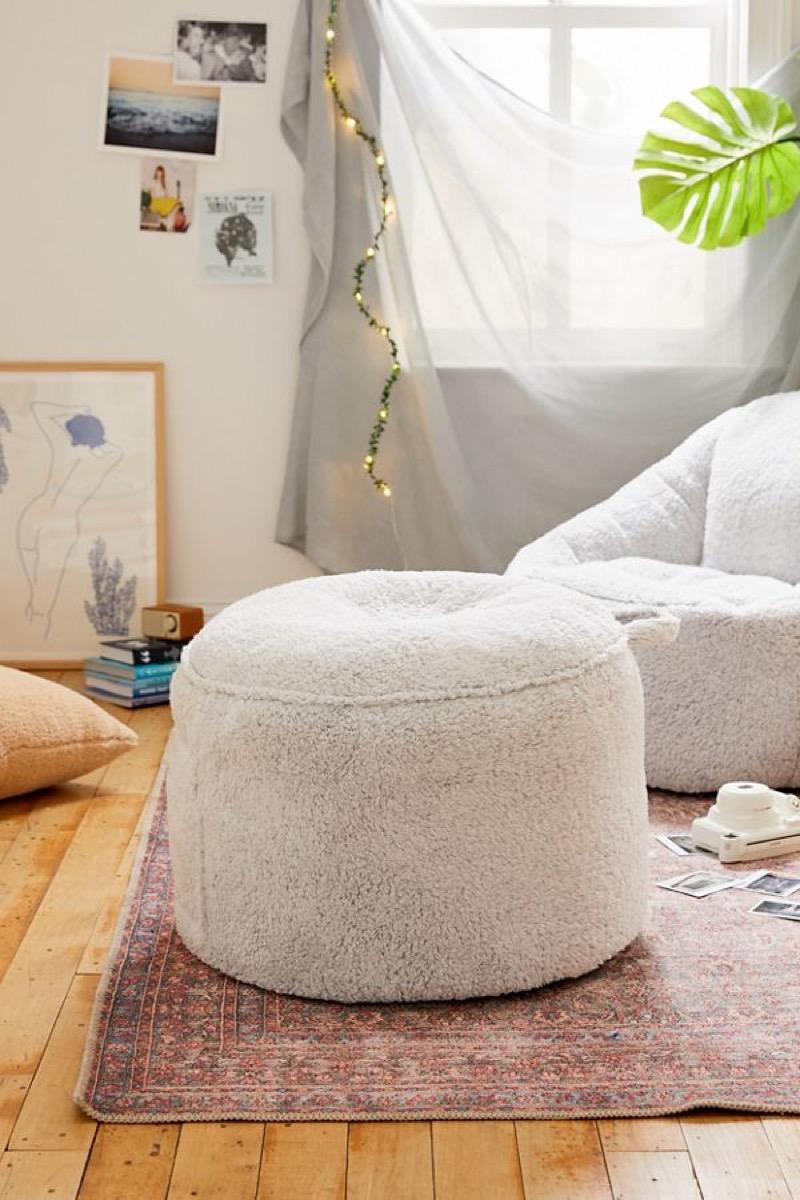 white fleece ottoman