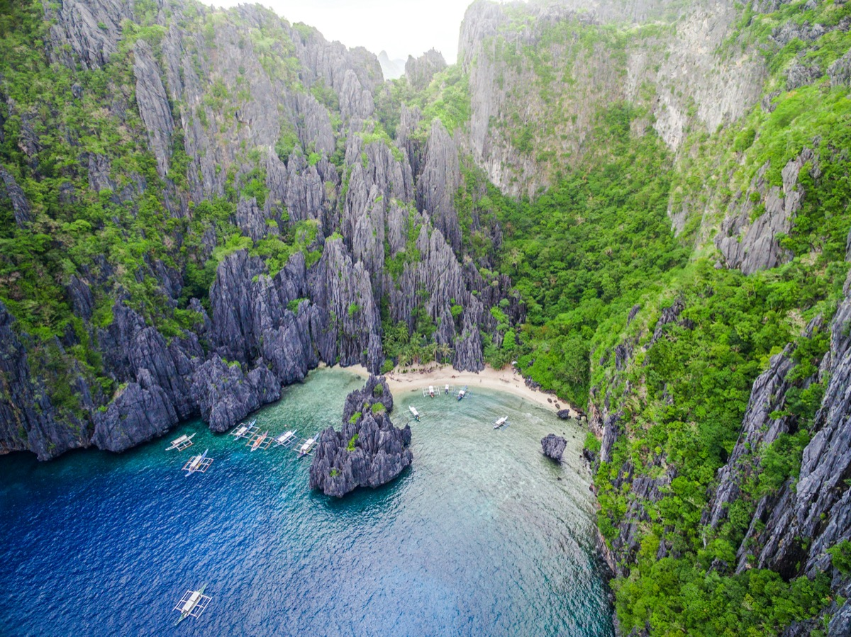 drone view of palawan philippines